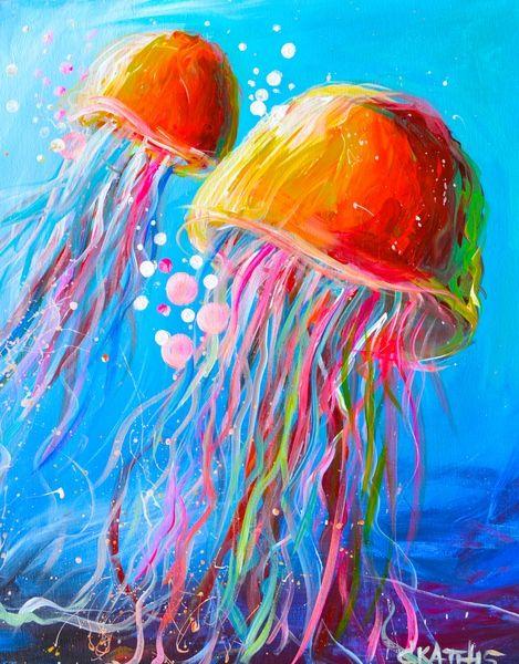 469x600 Drawn Jellyfish Acrylic Painting