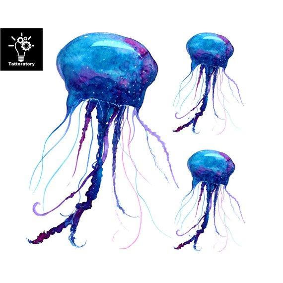 570x570 Jellyfish Temporary Tattoo Jellyfish Tattoo Watercolor Etsy