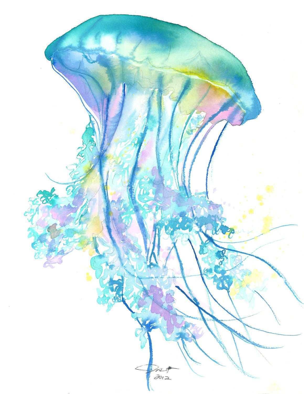 1159x1500 Jellyfish Painting Unique Original Watercolor Jellyfish Study No 4