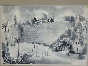 300x225 Albert Goldman Signed 1975 Judaica Western Wall Jerusalem