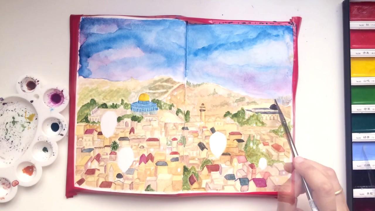 1280x720 Jerusalem Cityscape Watercolor Speed Paint