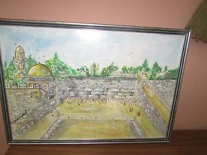 300x225 Signed Vintage Jewish Jerusalem Watercolor Painting 13 X 19