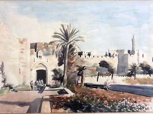 300x224 Arie Azene, Large Watercolor, Jerusalem Jaffa Gate , Signed, Old