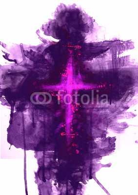 283x400 Abstract Purple Cross. Artistic Watercolor Style Digital