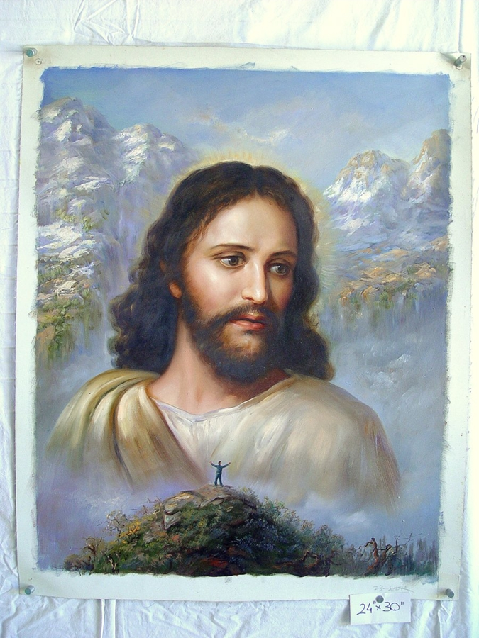 675x900 Jesus Christ With Mountain Top Original Oil Painting