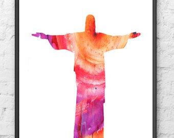 340x270 Jesus Art Print Blessing Art Christian Art Rio Art Print Etsy