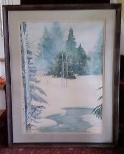 242x300 Joseph Sheldon Signed Original Pensylvania Large Winter Landscape