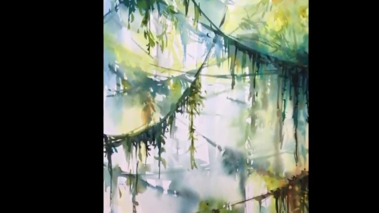 1280x720 Jungle Forest Watercolor Speed Painting Demonstration