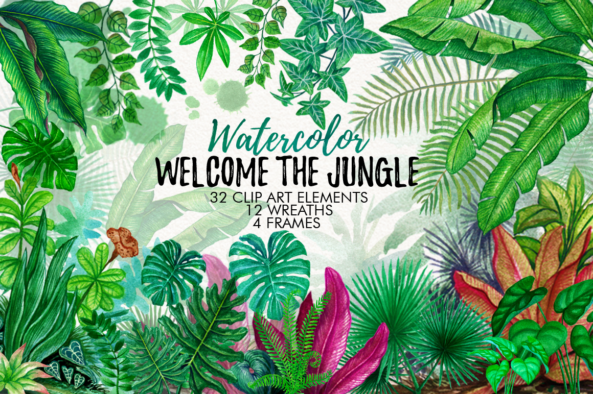 1160x772 Watercolor Tropical Leaves In The Jungle By Graphobia