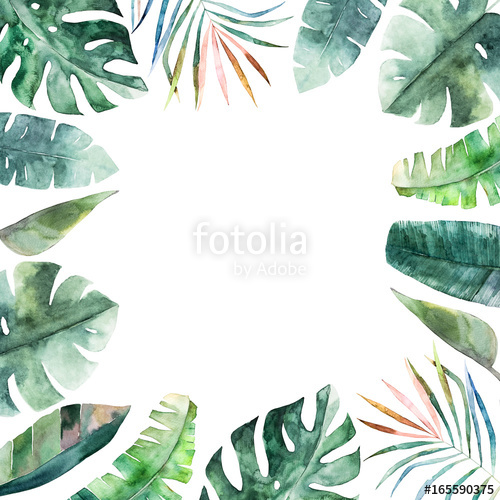 500x500 Watercolor Frame With Tropical Jungle Leaves.hand Drawn Aloha