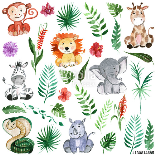 500x500 Watercolor Jungle Friends Animals, Africa, Tropical Leaves Stock