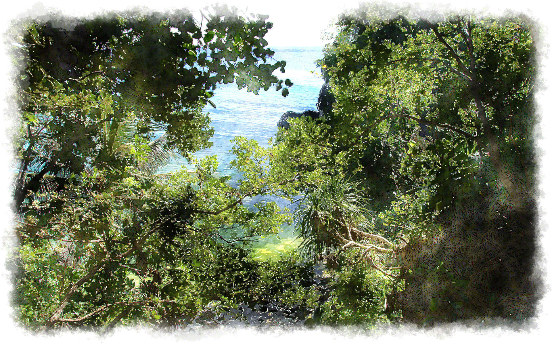 1920x1199 Watercolor Tropical Jungle