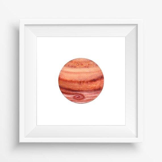 570x570 Jupiter Watercolor Art Print Mini Planet Illustration Solar Etsy