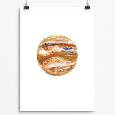 236x236 Jupiter Watercolour, Planet Art, Planet Watercolor, Planet Print