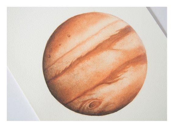 570x420 Jupiter Watercolour Planet Art Planet Watercolor Moon Etsy