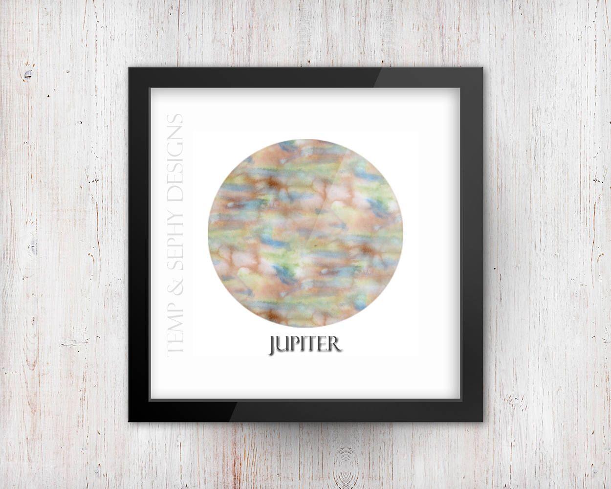 1250x1000 Printable Jupiter Wall Art Watercolor Inspired 8x8