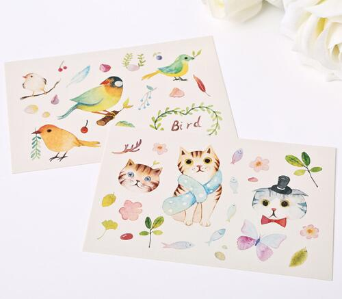 500x437 Kawaii Watercolor Style Happy Forest Postcards Cute Animal And