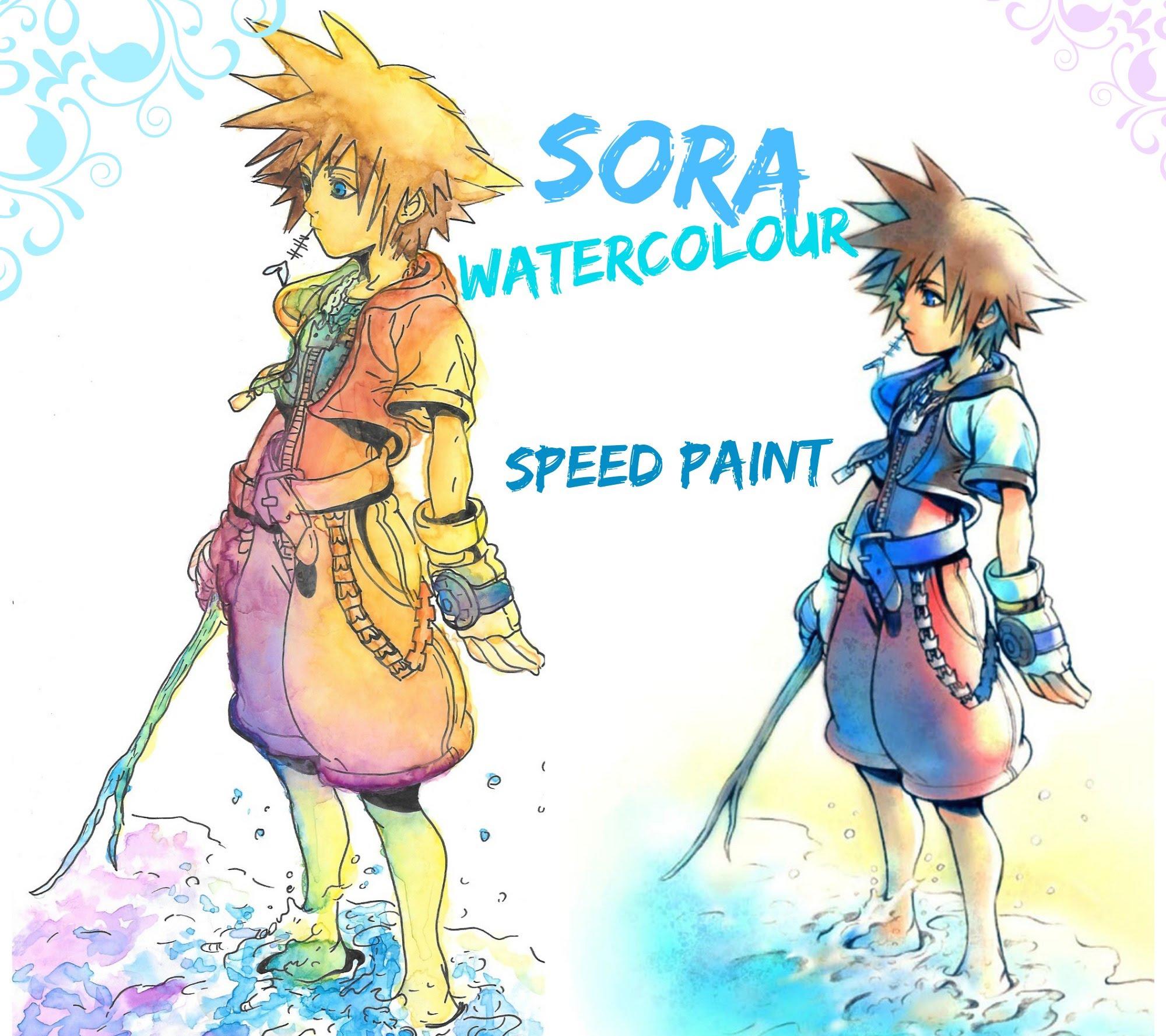 2000x1778 Watercolour Speed Paint Fanart Sora From Kingdom Hearts
