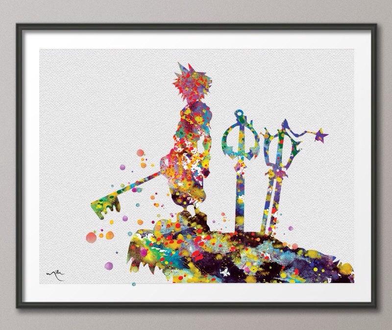 800x674 Watercolor Landcolor Skycolor Kingdom Hearts Sora Inspired 2