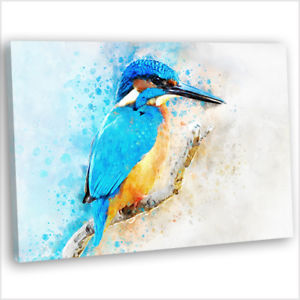 300x300 Kingfisher Watercolour Painting Canvas Print Framed Animal Wall