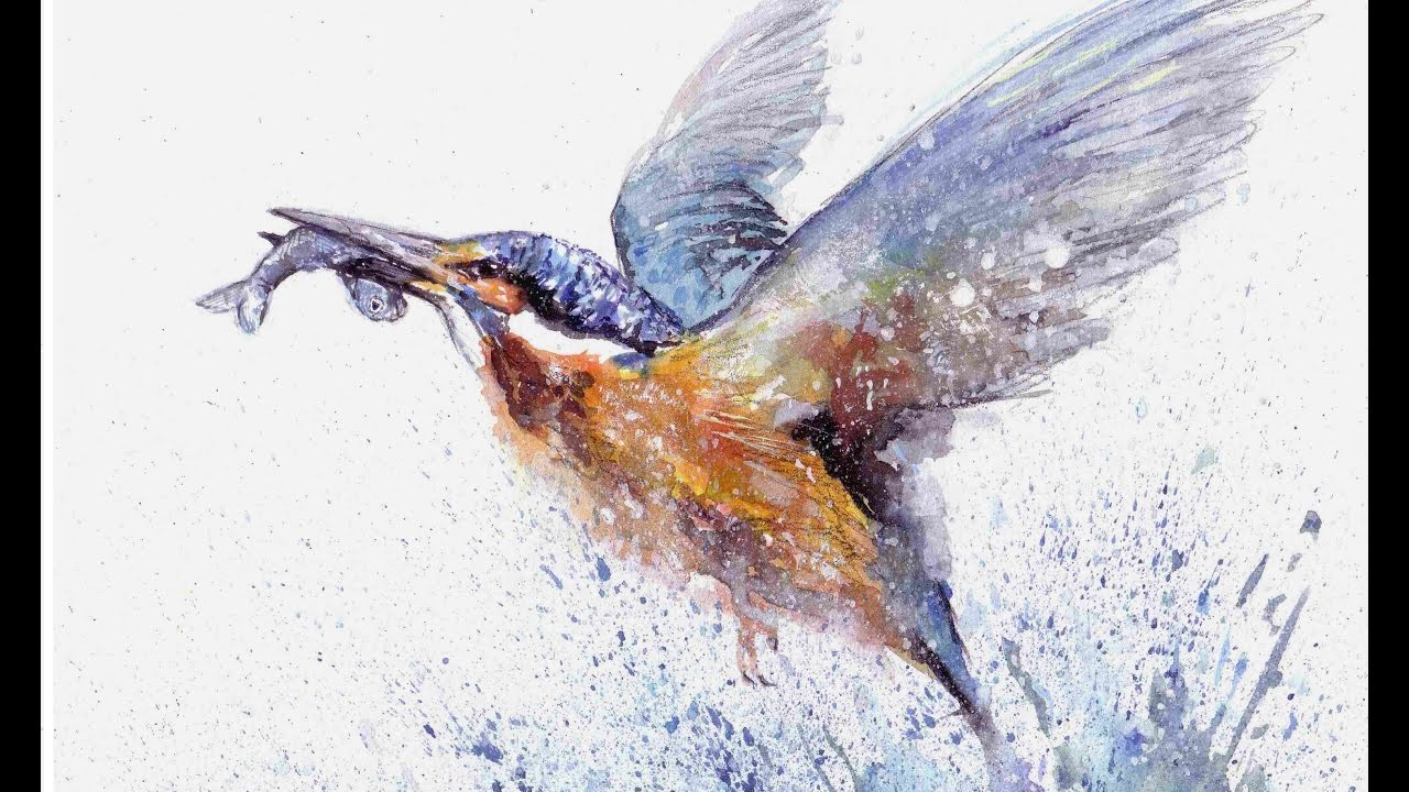 1280x720 Kingfisher Watercolour Speed Painting