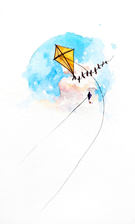 908x1500 A Joyful Breeze, Kite Painting, Original Watercolor Art, Modern