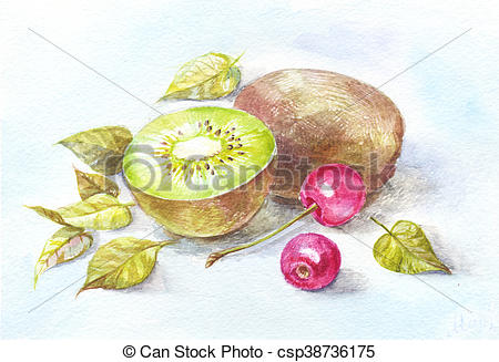 450x327 Kiwi And Cherry Watercolor. Still Life For Kitchen, Drawing On The