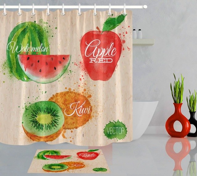 640x571 Lb 180180 Watercolor Watermelon Shower Curtains Apple Kiwi Fruit