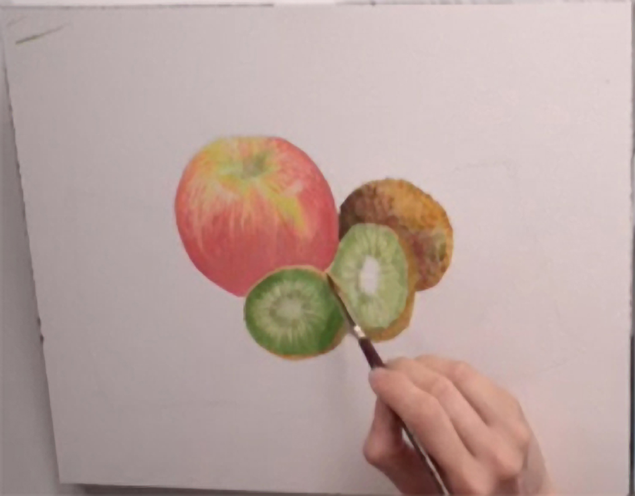1263x987 Painting A Watercolor Still Life An Apple And Kiwis