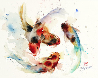 340x270 Collection Of Koi Fish Watercolor Drawing High Quality, Free