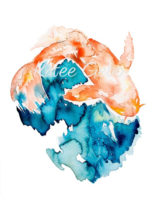 570x726 Koi Fish Painting Instant Printable Download Watercolor Etsy