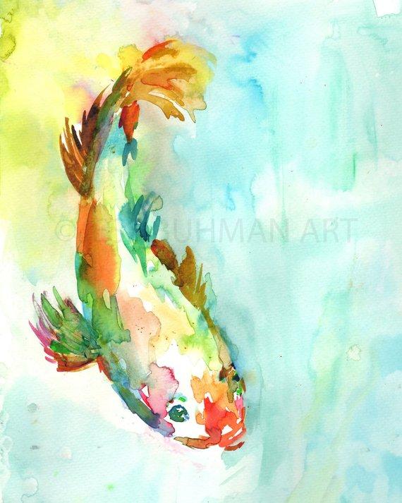 570x713 Koi Fish Painting Watercolor Koi 8 X 10 Print Print Of Koi Etsy