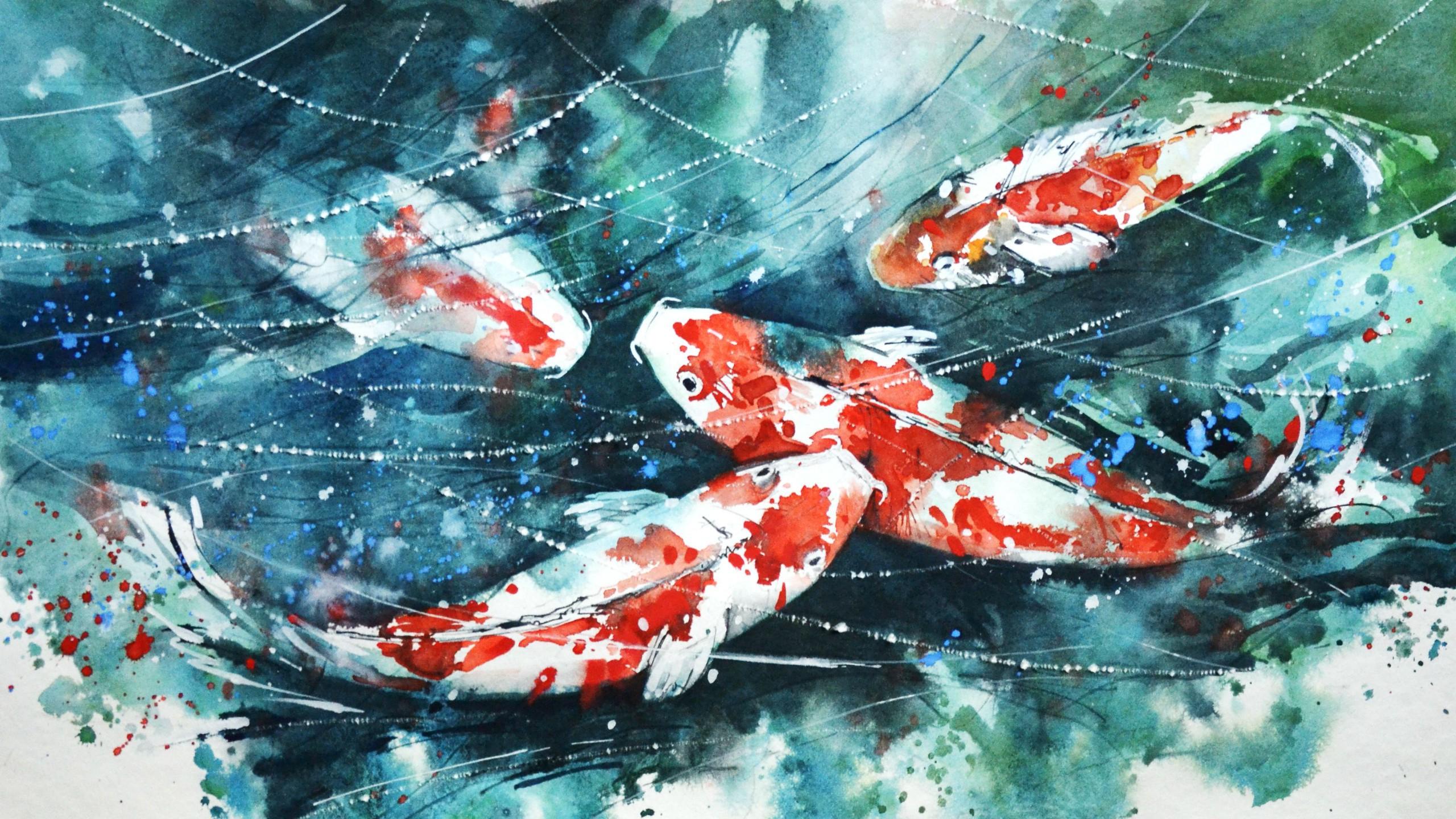 2560x1440 Koi Fish Watercolor Painting Painting, Fish, Watercolor, Koi