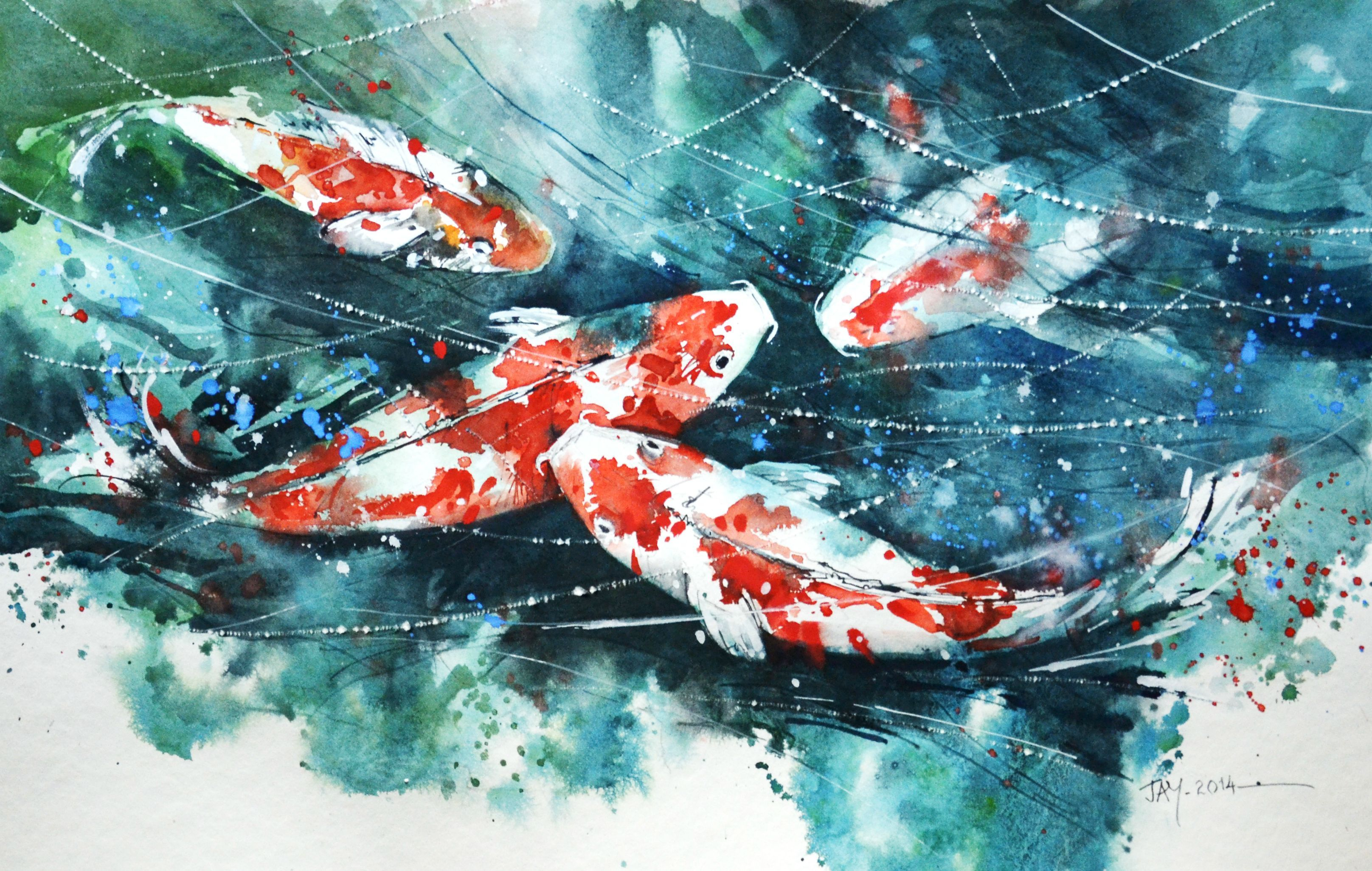 3232x2052 Koi Fish Watercolor Painting Speed Painting