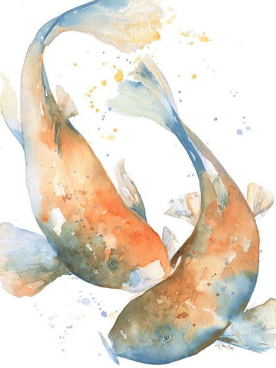 570x758 Koi Watercolor Print By Katrina Pete. Japanese Koi Fish Print Of