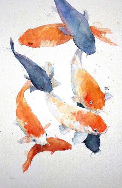 489x750 Allen Egan Koi Carp, Watercolor. Art Appreciation