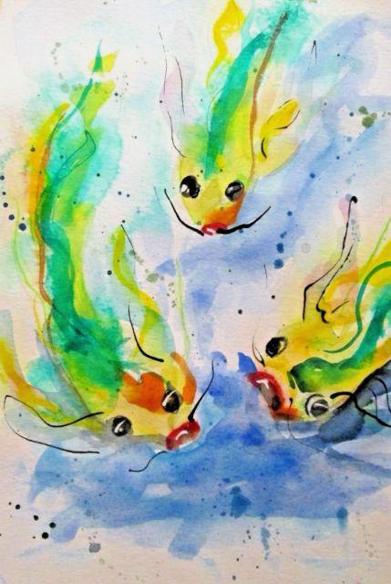 429x640 Koi Fish Pond Watercolor Painting Animal Wildlife Impressionism