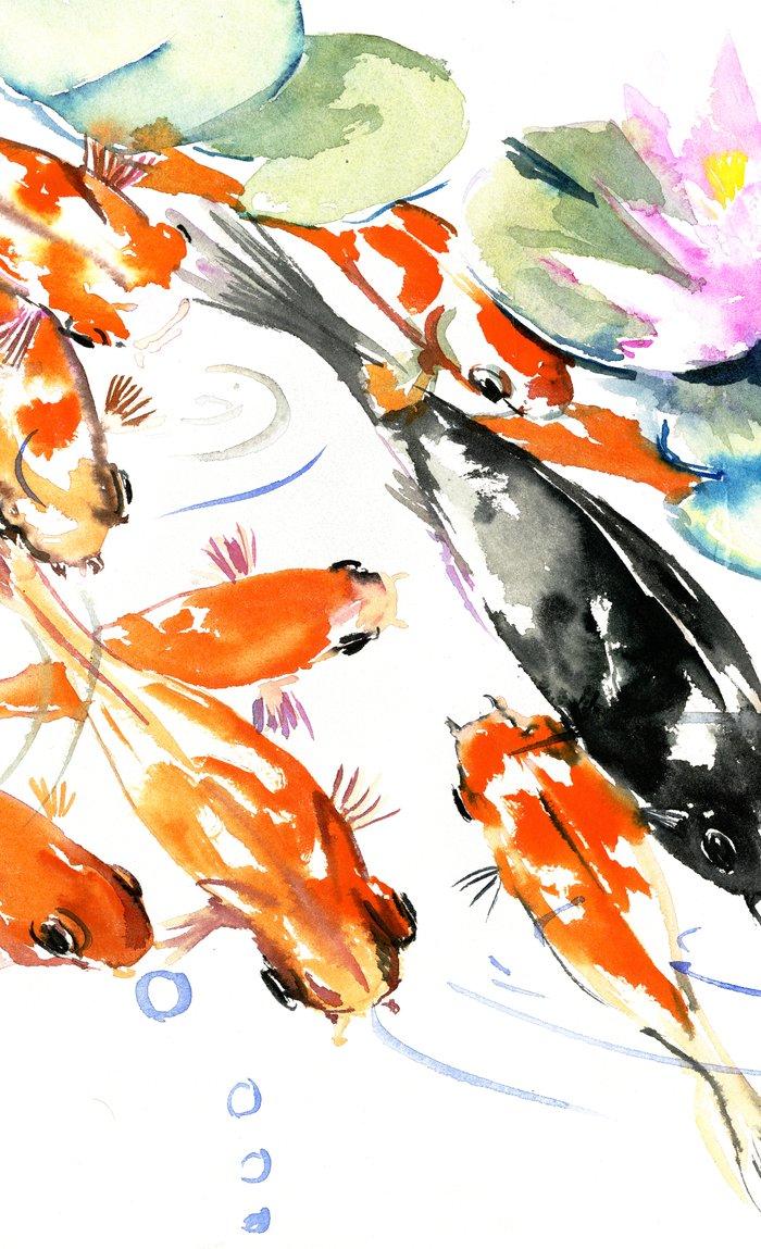 700x1149 Nine Koi Fish, 9 Koi, Feng Shui Artwork Asian Watercolor Ink