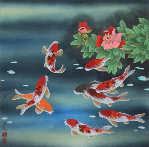 509x500 Nine Koi Fish And Flowers Asian Painting