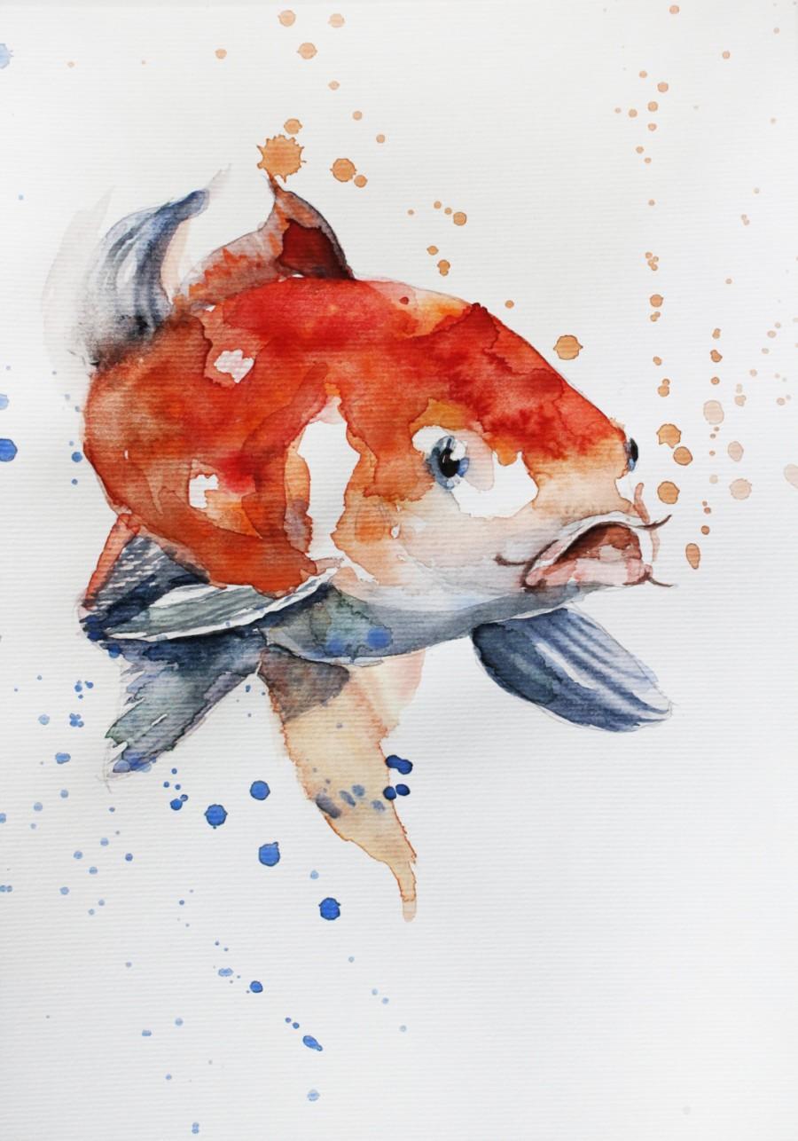 900x1286 Original Watercolor Painting Koi Fish Gold Fish Sea For Children