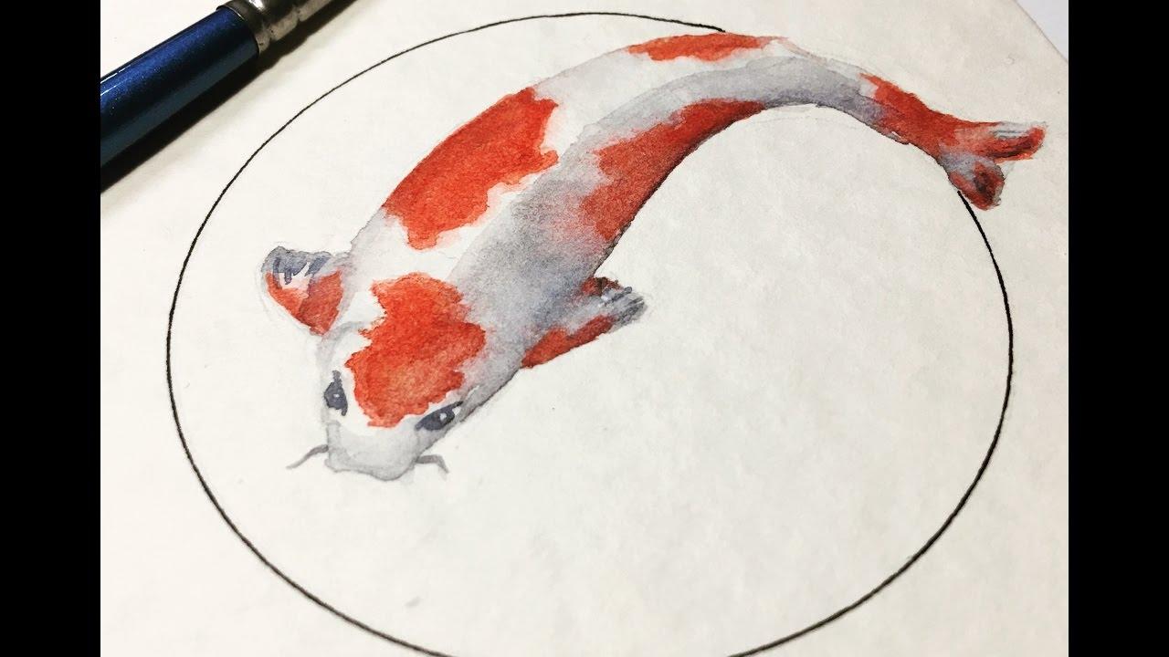 1280x720 Real Time Watercolor Painting. Koi Fish 10 Minute Watercolor