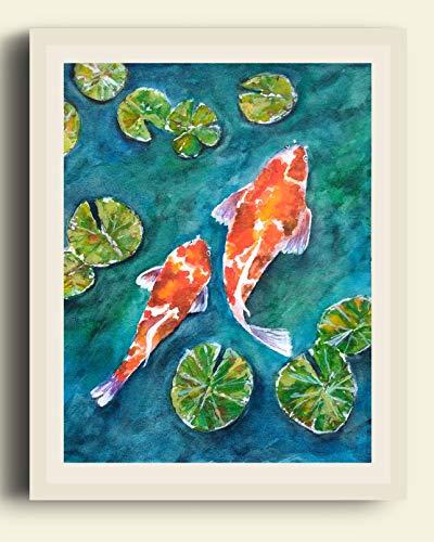 400x500 Koi Fish Painting, Original Fish Watercolor, 8 X 10