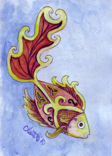 357x500 Red Gold Koi Fish Original Painting Watercolor Framed