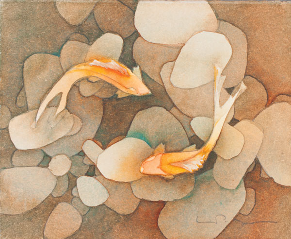 600x492 Watercolor Painting Lesson Of Koi Fish