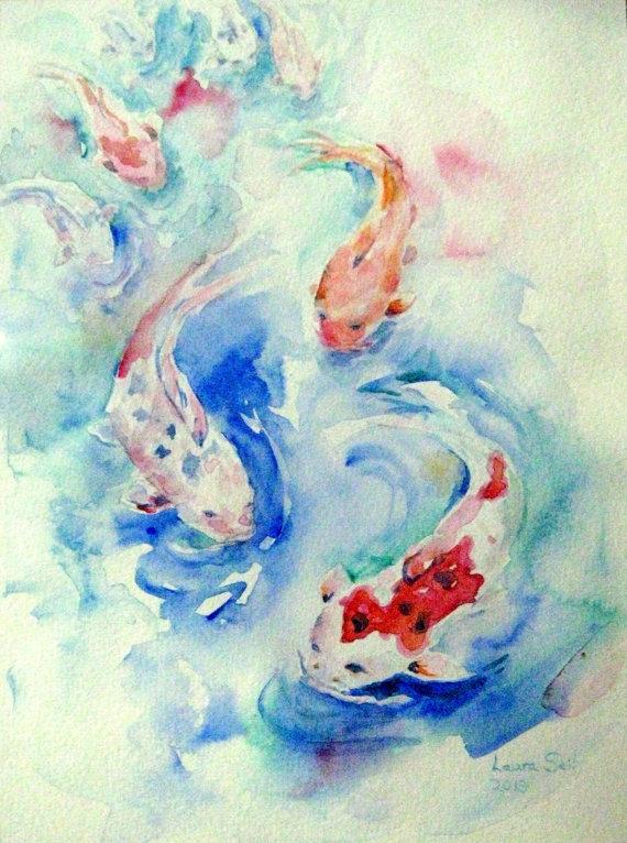 570x766 Watercolor Koi Fish