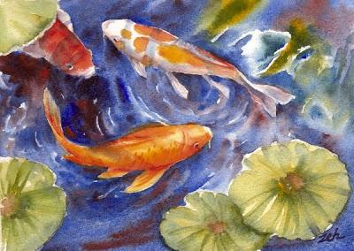 400x284 Zeh Original Art Blog Watercolor And Oil Paintings Koi Fish