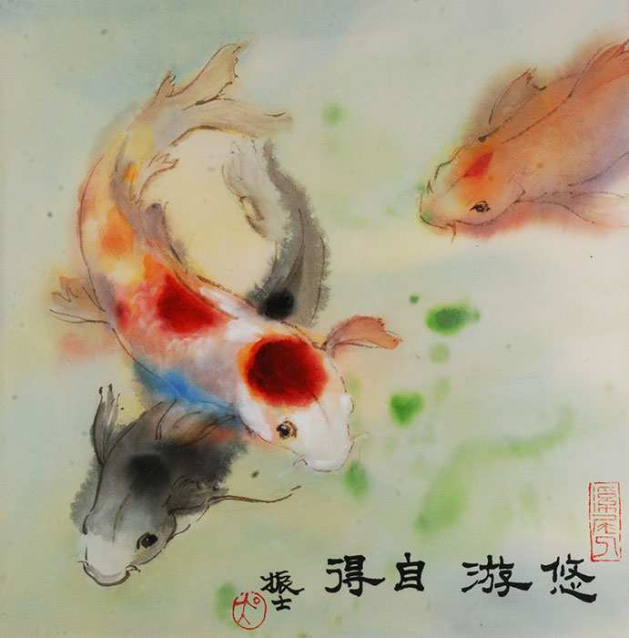691x700 Chinese Watercolor Painting Awesome Watercolor Koi Fish Freedom
