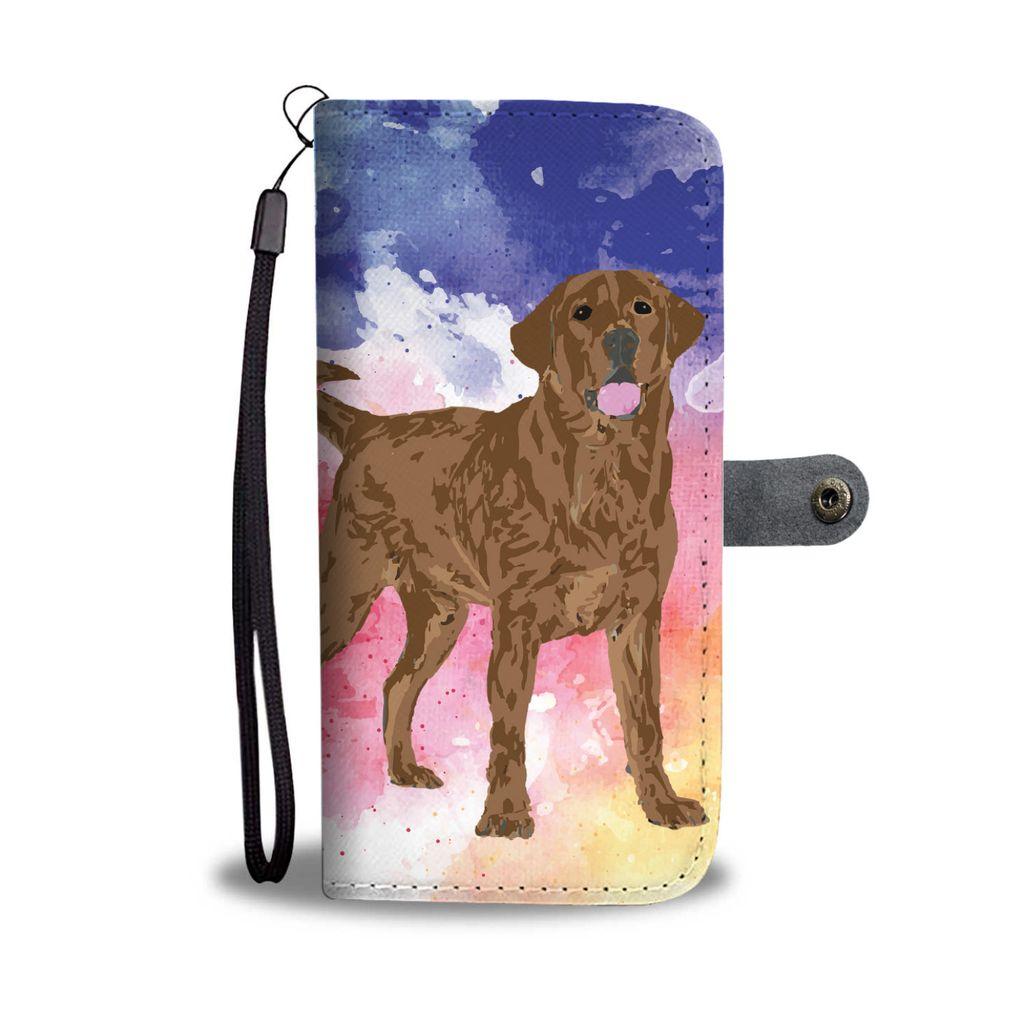 1024x1024 Chocolate Labrador Watercolor Design No.1 Wallet Phone Case
