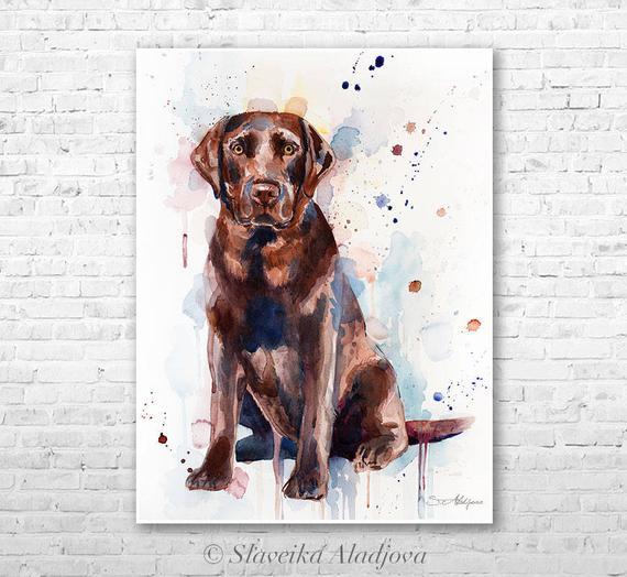 570x524 Chocolate Labrador Watercolor Painting Print By Slaveika Etsy