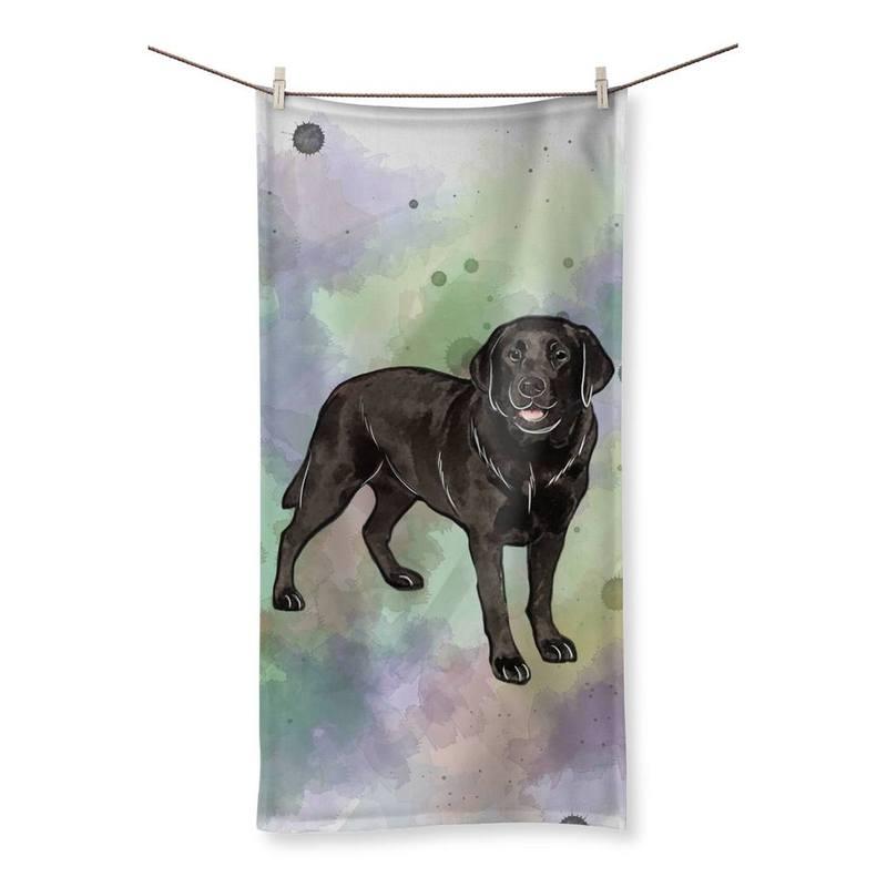 800x800 Watercolor Black Labrador Designs By Amitie Beach Towel